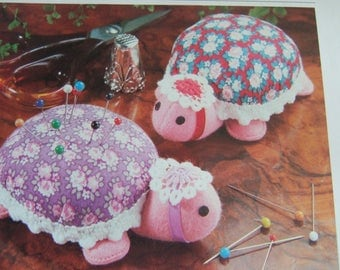 Original Vintage Sewing Pattern to make A Cute 3-4'' Tortoise or Turtle A Pretty Pincushion or Stuffed Soft Body Cloth Toy