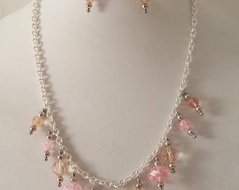 Pink & Silver Chain Dangle Jewelry Set - Pink Dangle Jewelry Set - Pink Jewelry Set - Pink Necklace - Pink Bracelet - Pink Earrings-3 PC Set