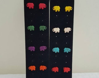 Elephant Earrings - Elephant Jewelry - Elephant Stud Earrings - Stud Earrings - Women's Earrings - Colorful Earrings - Elephant - Elephants