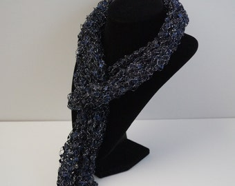 Midnight Blue Scarf, Summer Scarf, Ladder Yarn Scarf, Scarf, Fancy Scarf, Ribbon Yarn, Hand knitted, Crochet Scarf, Skinny Scarf