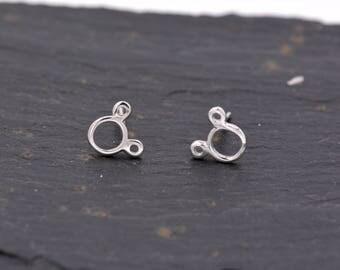 Sterling Silver Dainty Little Mickey Mouse Stud Earrings   Y40