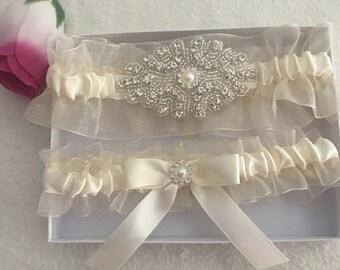 Ivory Organza, Ivory satin garter set, Pearl Rhinestone Applique, bow satin, Wedding garter, Bridal garter, Prom garter, Custom garter set