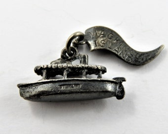 Taxi Boat with Mackinac Island Tag Attached Sterling Silver Charm or Pendant.