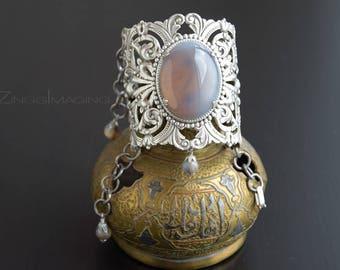 Victorian Antique Silver Lace Cuff Bracelet, Art Nouveau Cuff Bracelet, Silver Plated Brass Cuff Bracelet, Large Agate Gemstone Bracelet
