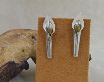 Vintage Laton Mexican Sterling Silver Post Lily Earrings