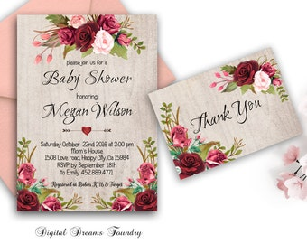 Floral Baby Shower Invitation Printable Boho Baby Shower Invite Bohemian Baby Invitation Rustic Baby Shower Invite Digital Invitation