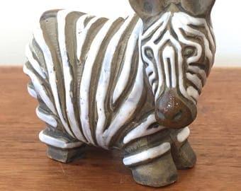 Vintage Ceramic Zebra Figurine | Artesania Rinconada Pottery Zebra Larger Size