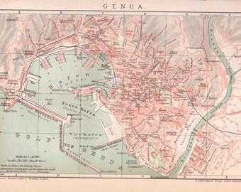 Antique European Map of Genoa Italy - Liguria Region