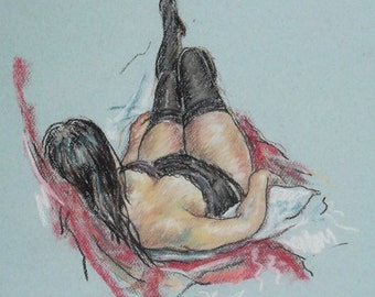 Original Pastel drawing 'Corset'