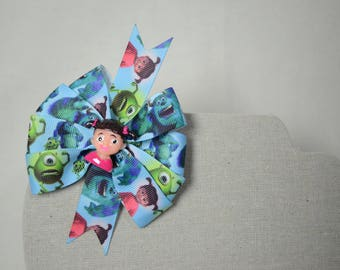 Monsters Inc. Basic Pinwheel Hair Bow * Mike * Sulley * Boo *