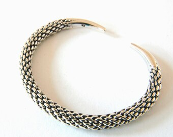 Sterling Silver Bangle, Silver Cuff, Woven Bracelet, Silver Torque, Silver Torc, Womens gift, Gift for Her, Braided Bangle, Braided Bracelet