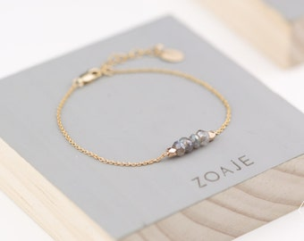 PANAMA Bracelet with natural Labradorite and dainty 14k Gold filled chain