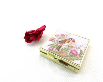 Vintage Compact Pill Box - Vintage Pill Box - Pill Container - Pill Holder - Pillbox  - Pill Case with with Bird Design - Medication Box