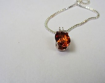 2.ct.,Hyacinth Zircon 8 x 6mm. Oval Pendant in Silver.