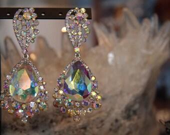 AB large crystal earrings, AB pageant earrings, AB prom earrings, chunky rhinestone earrings, ab clip on earrings