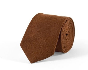 Brown tie, Brown necktie, Brown mens tie, bowtie for wedding, brown skinny tie, wedding bowtie, wedding tie, linen tie, men christmas tie