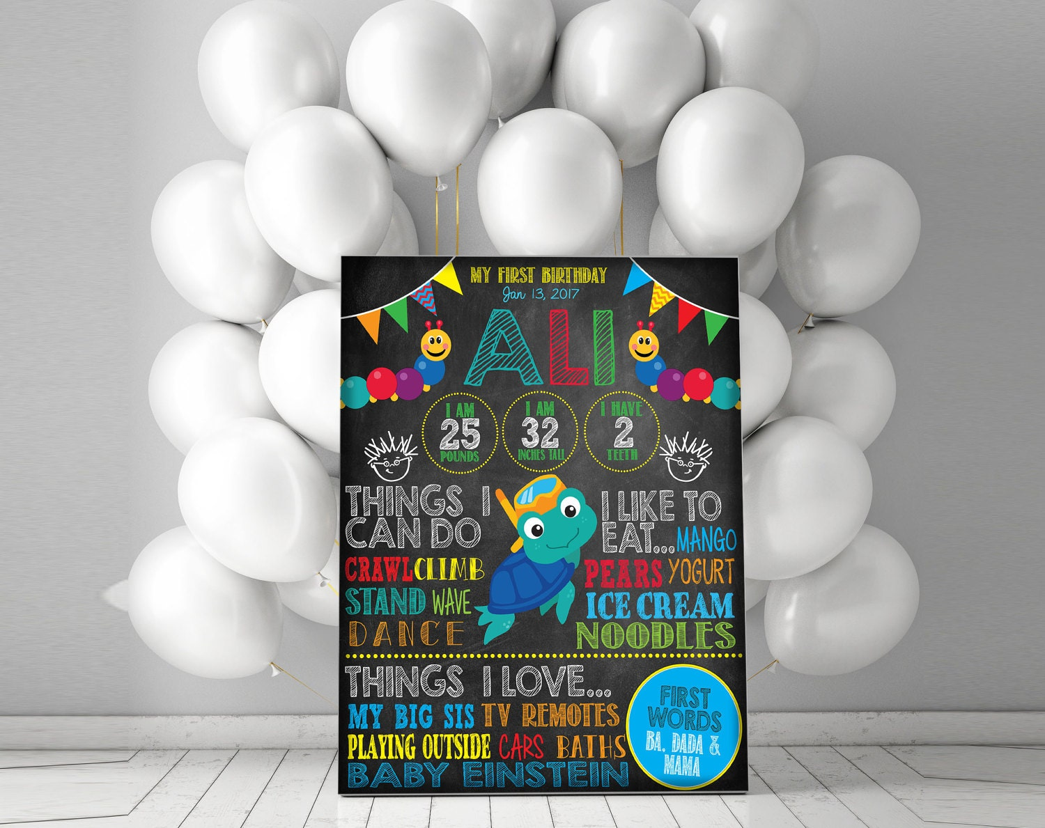 Baby einstein birthday 1st birthday chalkboard sign any for Baby einstein decoration