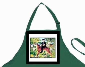 "Green Artist Apron, Holiday Gift,  ""Traumgarten"" Rousseau Tiger Parody,,Art Teacher,Teachers,Gardener,Unisex,Gift for Men or Women"