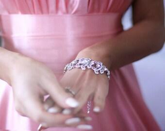 Сrystal bridal bracelet Silver bridal bracelet Wedding Bracelet Rhinestone Bracelet  Vintage Style Bridal Jewelry
