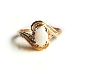 Vintage 14k Yellow Gold Opal & Diamond Accent Ring ~ Size 7 1970s Retro Bypass Style Fine Estate Jewelry