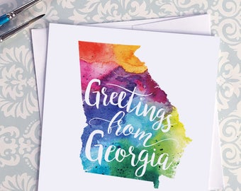 Georgia Watercolor Map Greeting Card, Greetings from Georgia Hand Lettered Text, Gift or Postcard, Giclée Print, Map Art, Choice of 5 Colors