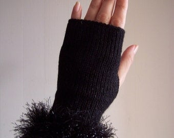 knit glamour glittery sparkly festive club black fingerless gloves with sparkly faux fur trim