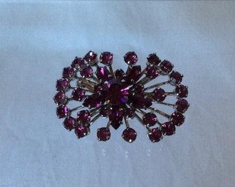 Vintage starburst purple crystal brooch