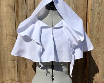 White Elven soft fleece hooded Caplet,Fairy pixie cape with tendrils,Midieval Renaissance faire LARP Cosplay cape pixie hood, druid cloak
