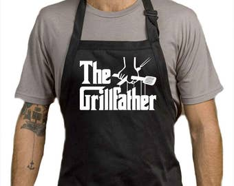 The GRILL FATHER Apron - Summer Time BBQ Chef Black Apron Birthday Present Gift