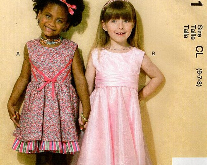 McCall's 7311 Free Us Ship  Ruffles Lace Girl's Dress Flower Girl Uncut New Sewing Pattern Out of Print Size 6 7 8