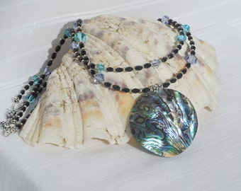 Swarovski crystal, black glass and sterling silver 2-strand necklace with paua shell focal