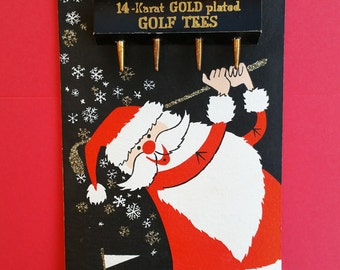 Unused Vintage Paper Santa Claus Golfer Christmas Card with Four 24K Plated Golden Golf Tees in Used Box