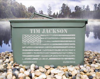 Personalized American Flag Ammo Box for Weddings or Other Occasions