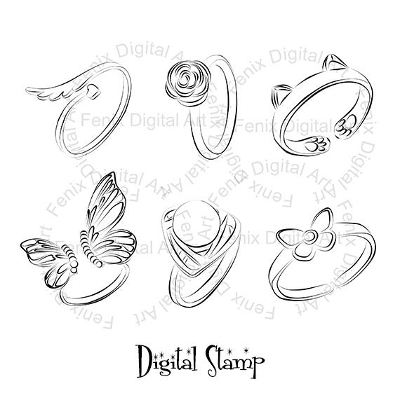 Digital Stamp,Clipart,Line art,Fashion Rings, Rings graphics,Digi stamp,digistamp,fashion Illustration INSTANT DOWNLOAD