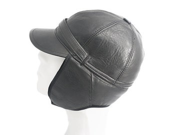 Leather Hat - Aviator Hat - Black Leather H6 - Free Shipping and Optional Fedex Express Shipping