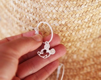 Mickey Mouse cute white vintage beautiful hoop earrings.