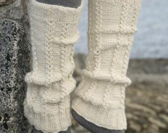 leg warmer hand knit boot cuffs lacy leg warmer cable knit Nordic Norwegian knit yoga leggings Scottish wool lamb wool boot socks gift her