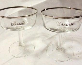 Vintage Bride & Groom Toasting Glasses