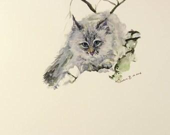 Original Cat Watercolor Painting