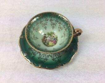 Green Bavaria Waldershof Markleuthen 1 Cup With A Saucer Vintage Bavaria China Retro Design Tea Cup Set