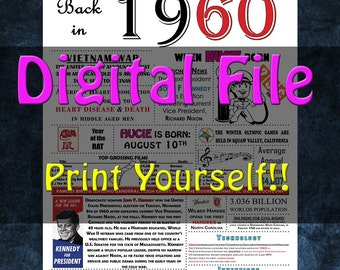 1960 Personalized Birthday Poster, 1960 History - DIGITAL FILE!!