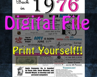 1976 Personalized Birthday Poster, 1976 History - DIGITAL FILE!!
