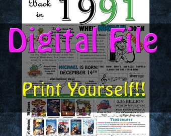 1991 Personalized Birthday Poster, 1991 History - DIGITAL FILE!!