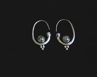SALES !!!Labradorite White Brass Earrings - Tribal - Ethnic - Boho - Gypsy - Gems - Design - Travel - Festivals - Trance