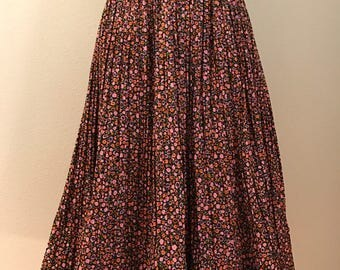 1950's  Floral Cotton Full Circle Skirt By Koret of California