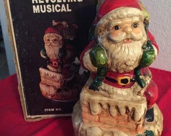Vintage 1982 Revolving Musical Santa Plays Santa Clause Is Coming To Town
