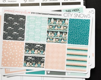 SALE VERTICAL City Snows Christmas Winter Erin Condren Lifeplanner™ Weekly Kit Planner Stickers
