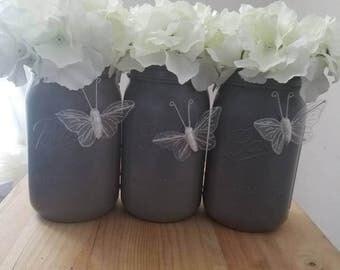 Gray Butterfly Mason Jars. Spring time Jars. Grey Mason Jar Vases. Butterfly Home Decor. Butterfly Jars, Gray & White Mason Jars