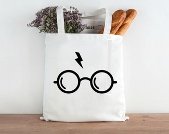 Harry Potter Glasses and Scar Grocery Tote and Book Bag