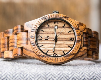 Unisex Zebra Thin  Wood Watch, Boyfriend gift|Girlfriend gift|Groomsmen Gift|gift for husband |Natural wood watches|wood watch women